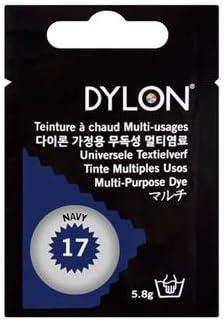 Dylon multiusos Dye # 17 azul marino Color 5.8 G. para algodón, cuna, lana, nailon, madera, botón, plástico, carcasa, plumas, flores secas etc.