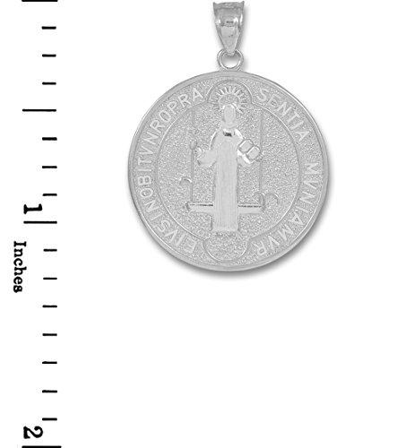 Petits Merveilles D'amour - 14 ct Or Blanc 585/1000 Saint-Benoît-Pièce de Monnaien-médaillon pendentif (M) Pendentif