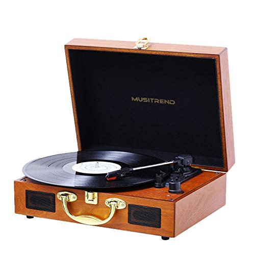 Musitrend Turntable Portable Suitcase Record Player with Built-in Speakers, PC Recorder, Headphone Jack, RCA line Out - Wood