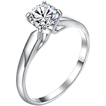 Concise White Gold Plating Classic Uplifted 4 Prong Single Zirconia Diamond Wedding Ring for Women