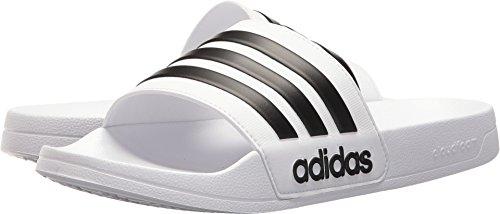 adidas Performance Men's Adilette Shower Slide Sandal, White/Black/White, 11 M US