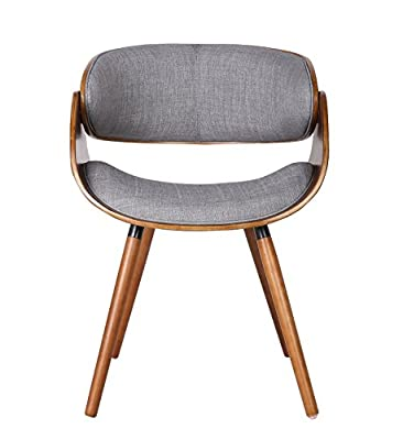 Container Furniture Direct Mid Century Modern Plywood Dining or Accent Chair with Modern Wrap Around Padded Back, Wrap Around Back