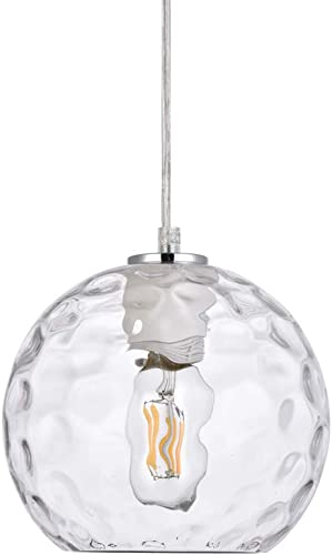 POPILION Modern Industrial Irregular Handblown Globe Glass Shade Pendant Light, Perfect Decor Hanging Fixture for Kitchen Island Restaurant Club and Hallway