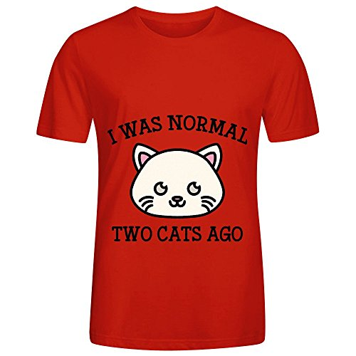I Was Normal Two Cats Ago Mens Crew Neck Graphic Shirt Red ()