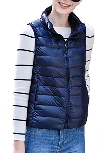 Women's Stylish Lightweight Packable Down Puffer Sleeveless Fall & Winter Vest Navy US Large(Asian 3XL) by HENGJIA (Image #1)
