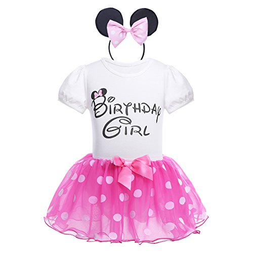 CHICTRY Baby Girls Kids Birthday Party Outfit Cartoon Cosplay Short Sleeve Romper with Tutu Skirt Headband Set Rose 3-4