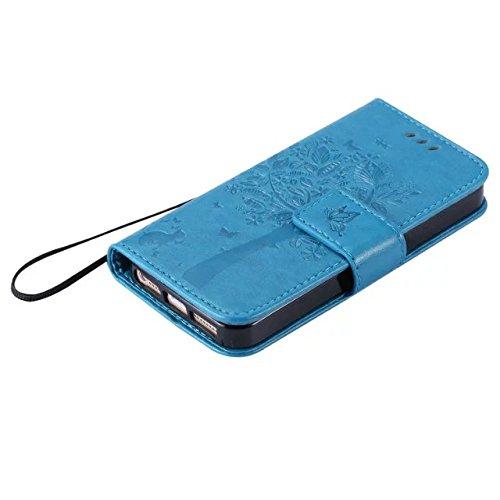 Solid Color Premium PU Ledertasche Prägeart Pattern Flip Stand Case Hülle mit Karte und Bargeld Schlitze für iPhone 5 5S SE ( Color : Blue )