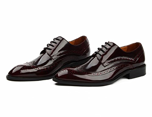 Herren Lederschuhe Herrenschuhe Britischen Stil Business Formal Wear Leder Spitze Breathable Single Schuhe wies Herrenschuhe ( Farbe : Weinrot , größe : EU37/UK4-4.5 ) Weinrot