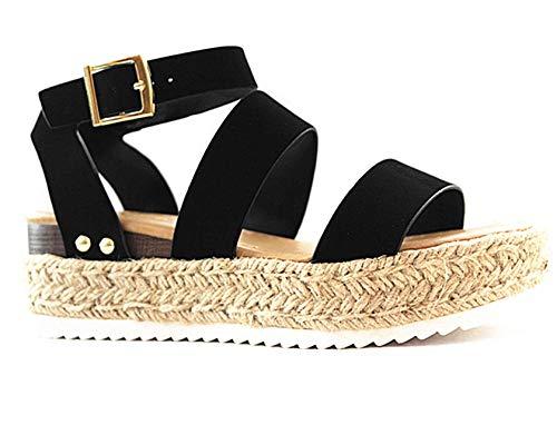 - SODA Women's Open Toe Ankle Strap Espadrille Sandal (7.5 M US, Black-Bryce)