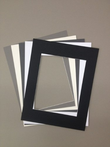 Pack of 5 18x24 Picture Mats, 5 Neutral Colors, with White Core Bevel Cut for 13x19 Pictures by bux1 picture matting