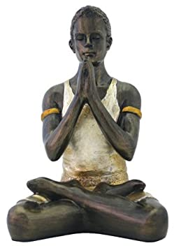 Top Collection Yoga Man – Praying Lotus Pose Statue with Yoga Instructions 5.5-Inch Hand-painted Figurine with Color Accents – Bronze Finish Look
