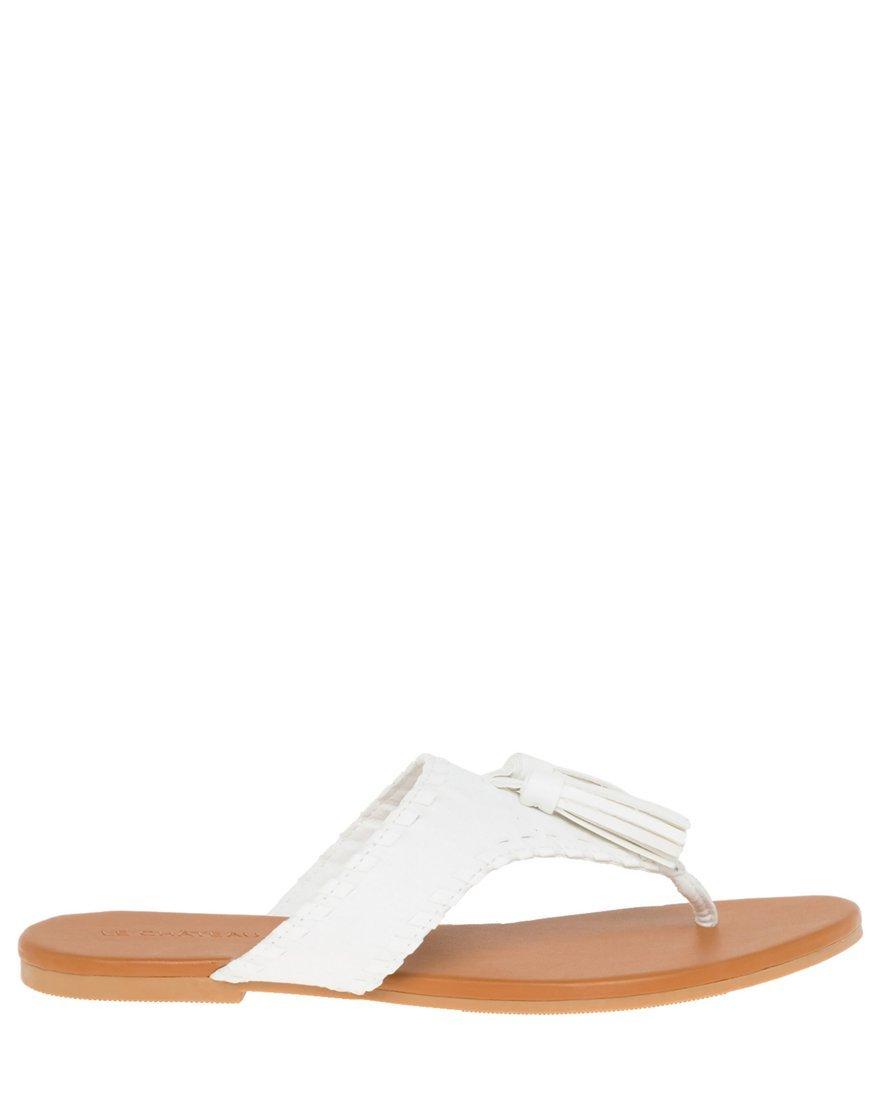 LE CHÂTEAU Women's Tassel Thong Sandal,8,White