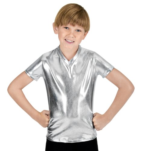 [Boys Short Sleeve T-Shirt,N7086CGOLM,Gold,Medium] (Dance Duet Costumes)