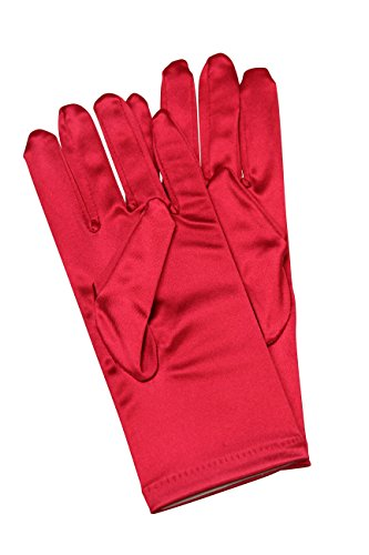 Elegant Stretch Satin Short Fabric Gloves - Wrist Length - Size: 9