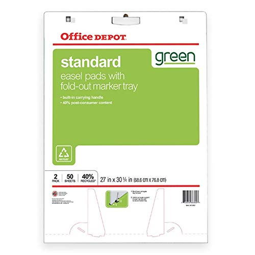 Office Depot 40% Recycled Bleed-Resistant Easel Pads, 27in. x 32in, Plain White Paper, 50 Sheets, Box Of 2, 99454