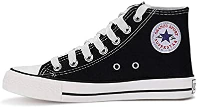KUNSHOP Unisex Canvas High/Low Tops Sneakers, Fashion Casual Lace up Canvas Shoes Trainers for Women Men Black Size: 4.5