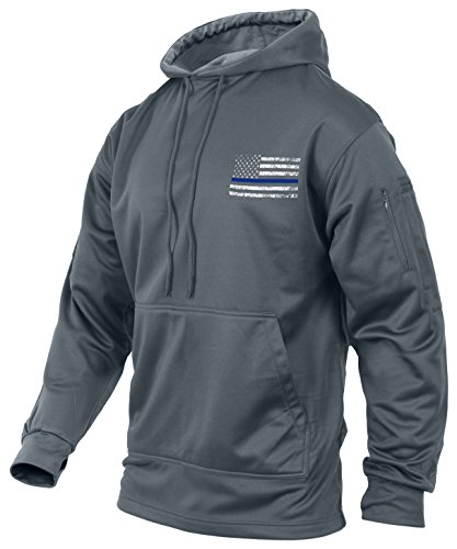 Rothco Thin Blue Line Concealed Carry Hoodie, Grey, Large