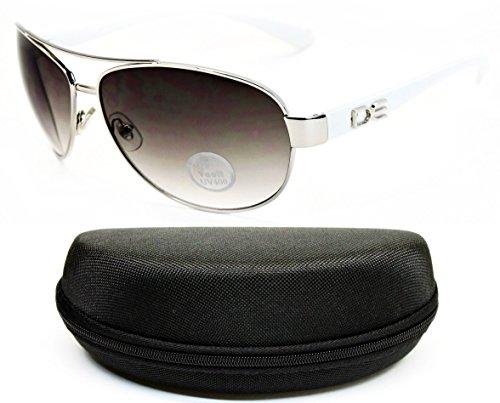 D990-CC Designer Eyewear Metal Aviator Sunglasses (O2585B Silver/White-Smoked, - White Sunglasses Dg