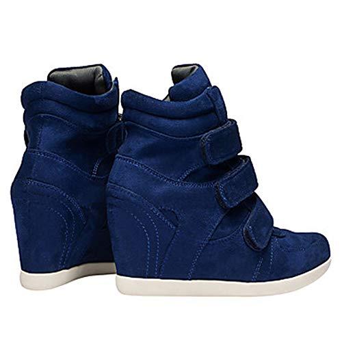 Printemps Chaussures en Chaussures des vin Bleu Cuir Confort Nappa de Mode Marron Bottes Talon TTSHOES bleu compensé Femme P5EqvxcwaX