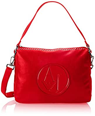 Armani Jeans Women's Matte Leather and Studs Handbag, Red, One Size