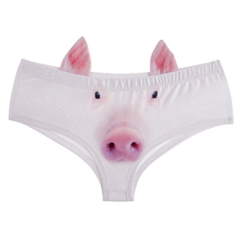Print Pig - Ababalaya Womens' 3D Animal Print Cute Briefs with ears, Pig