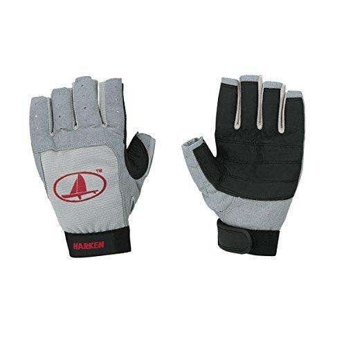 (Harken Sport Classic 3/4 Finger Glove, Grey/Black/Red, X-Large)