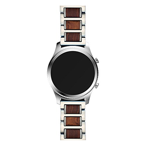 atible Galaxy Watch 46mm Band, 22mm Natural Wood Red Sandalwood Silver Stainless Steel Metal Watch Strap Compatible Samsung Galaxy Watch 46mm, Gear S3 Frontier/Classic Smartwatch ()