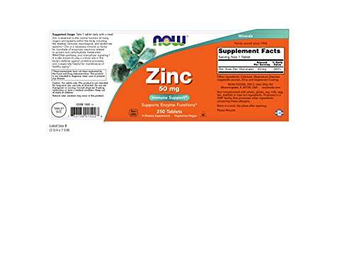 Now Foods Zinc Gluconate 50mg Tablets, 500-Count