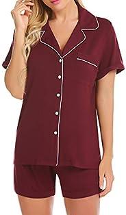 Ekouaer Pajama Set Women's Button Down Sleepwear Short Sleeve Soft Pj Shorts Nightwear Lounge Set XS