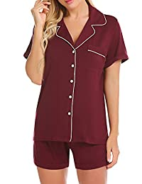 Ekouaer Pajama Set Women's Button Down Sleepwear Short Sleeve Soft Pj Shorts Nightwear Lounge Set XS-XXL