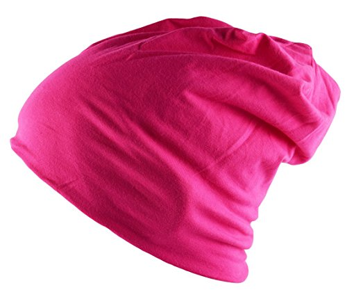 SUNNYTREE Baggy Soft Cotton Slouchy Stretch Beanie Hat Chemo Hats for Men and Women Ruffle Beanie Scarf, Deep Pink, One Size