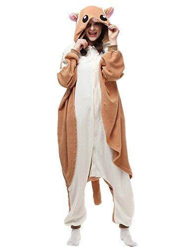 [Unisex Adult Pyjamas Flying Squirrel Halloween Onesie Costume Sleepwear S] (Squirrel Halloween Costume)