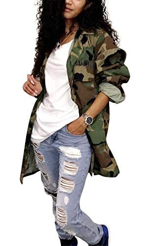Antique Style Women's Casual Oversized Military Camo Printed Lightweight Outwear Coat Camouflage Longline Jacket Safari Jacket Party Club Dress M