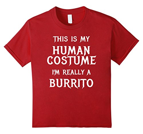 Burrito Costume Girl (Kids Burrito Halloween Costume Shirt Easy Funny for Kids Adults 8 Cranberry)
