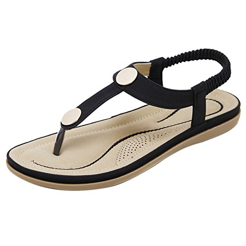 TAOFFEN Women Fashion Flats Slingback Sandals Black TJf0tUW