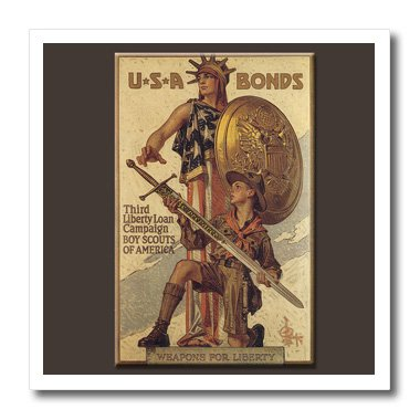 3dRose Vintage USA Bonds Third Liberty Loan Campaign Boy Scouts of America - Iron on Heat Transfer, 6 by 6-Inch, for White Material (ht_149392_2)