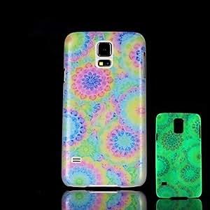 GX Modelo de flores que brillan en el caso duro oscuro para i9600 Samsung Galaxy S5