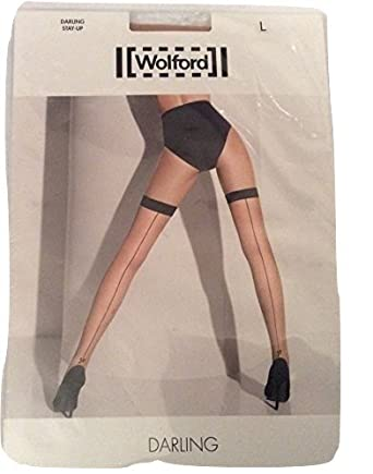 708dad1fac5 Wolford Darling Back Seam Stay Up Sahara Black Large (Large)  Amazon.co.uk   Clothing