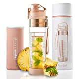 MAMI WATA Fruit Infuser Water Bottle - Beautiful Gift Box - Unique Stylish Design - Free Fruit Infused Water Recipes eBook Insulating Sleeve - 24oz