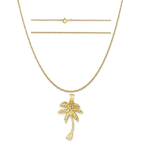 K&C 14k Yellow Gold Mini Palm Tree Pendant on a 14K Yellow Gold Carded Rope Chain Necklace, 20