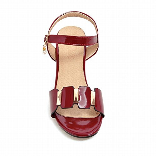 Mee Shoes Women's Chic Mid Heel Ankle Strap Bead Buckle Sandals Red YW8C3WO