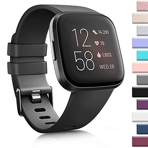 AK Sports Bands Compatible for Fitbit Versa, Soft Elastomer Multi-Colors Replacement Wristbands for Fitbit Versa Lite Watch (Black, Small)