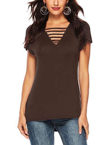 (Beluring Womens T-Shirts Short Sleeve V Neck Criss Cross Front Tops(Brown,XL))