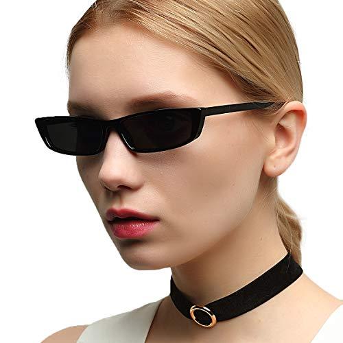OVZA Rectangle Retro Sunglasses Women and Mens Punk Style Vintage Narrow Plastic Frame ()