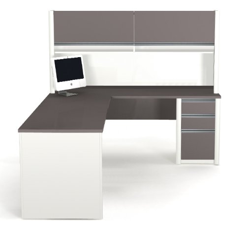 Connexion Series L-shaped Desk with Hutch Included in Bordeaux & Slate