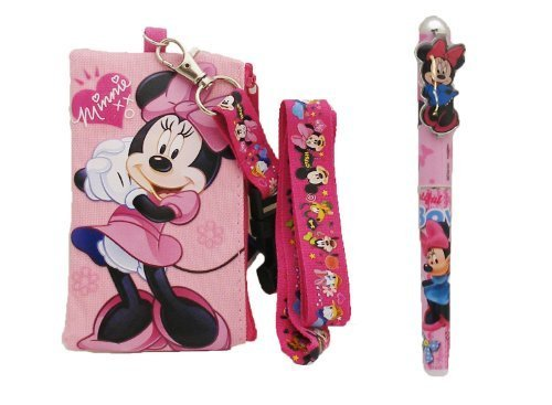 Disney Minnie Mouse Lanyard with Detachable Wallet (Pink Monster Lanyard)