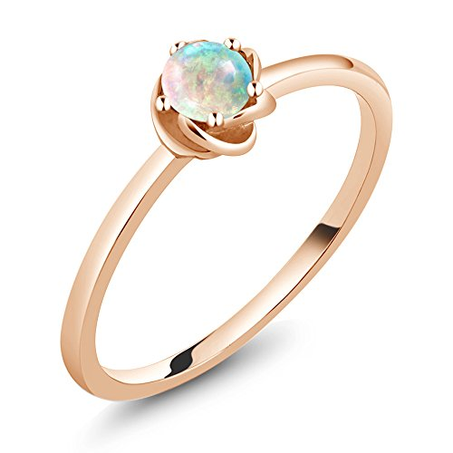 0.25 Ct Engagement Ring - 10K Rose Gold Solitaire Engagement Ring 0.25 Ct Round White Simulated Opal (Size 7)