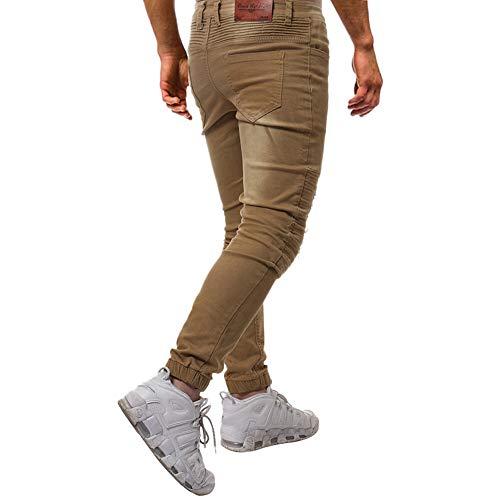 Fori Uomo Da Strappati Traforati Con Lavoro Pantaloni Skinny Casual Cotone In Jiameng Jeans Cachi Di wEBRqtXq
