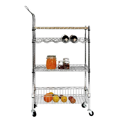 soges Premium Kitchen Rack with Solid Wood Cutting Board, Rolling Kitchen Storage Cart, Bar Serving Trolley Wine Rack, Moving Units for Home, Kitchen, Bathroom, Stainless Steel KS-ZSCS-04 by soges (Image #2)