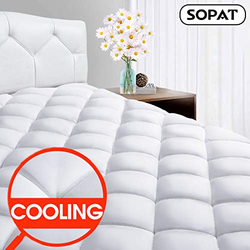 SOPAT King Mattress Pad Protector - CoolingPillow Top Plush Mattress Topper Reversible Quilted Fitted Mattress Cover with 8-21 inch Deep Pocket for Summer